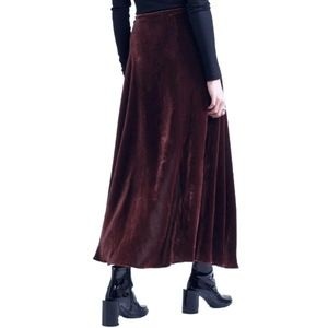 Eileen Fisher Burgundy Velvet Wrap Maxi Skirt 1X
